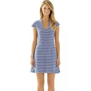 Lilly Pulitzer Bree Blue Bay Striped Dress Large